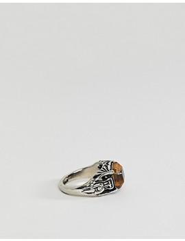 Sacred Hawk Tigerseye Engraved Ring by Sacred Hawk