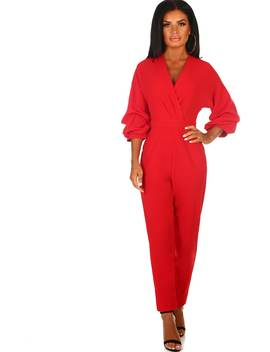 Crazy For You Red Ruched Sleeve Wrap Jumpsuit by Pink Boutique