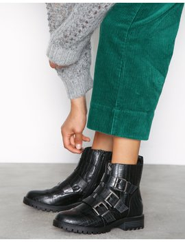 Snake Print Chunky Buckle Boots by New Look