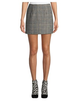Raye Plaid Wool Blend Mini Skirt by Neiman Marcus