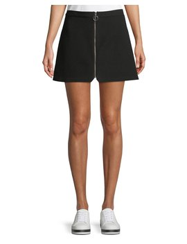 Riley Zip Front A Line Mini Skirt by Alice + Olivia