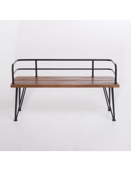 Lastoro Acacia Industrial Bench   Teak/Rustic Metal   Christopher Knight Home by Christopher Knight Home