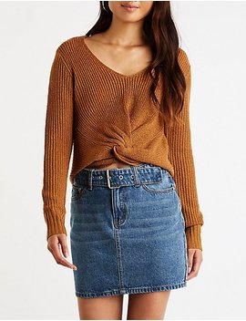 Front Twist V Neck Sweater by Charlotte Russe
