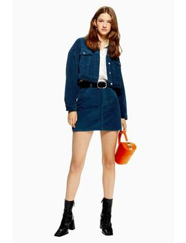 Petrol Blue Corduroy Skirt by Topshop