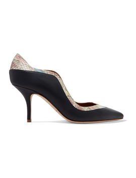 Penelope Ayers Trimmed Leather Pumps by Malone Souliers