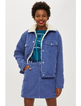 Corduroy Blue Borg Jacket by Topshop
