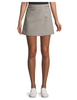 Snap Tab Fremont Plaid Wrap Mini Skirt by Theory