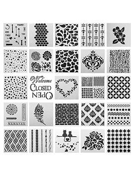 Sotogo 25 Pcs Mix Pattern Square Shape Journal Stencil Plastic Planner Stencils Journal/Notebook/Diary/Scrapbook Diy Drawing Template Stencil by Sotogo