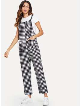 Pleated & Pocket Plaid Pinafore Jumpsuit by Shein