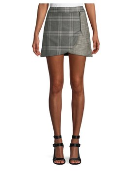 Lennon Colorblock Plaid Draped Mini Skirt by Alice + Olivia