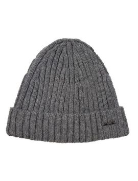 Boss Hugo Boss Black Label Grey T Benzo Ribbed Cashmere Blend Cuff Beanie Hat by Hugo Boss