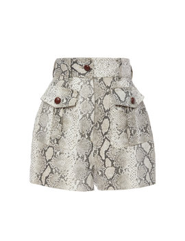 Corsage Belted Printed Linen Shorts by Zimmermann