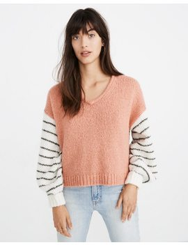 Balloon Sleeve Pullover Sweater In Colorblock by Madewell