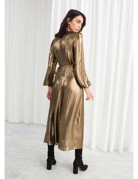 Metallic Satin Midi Dress by & Other Stories