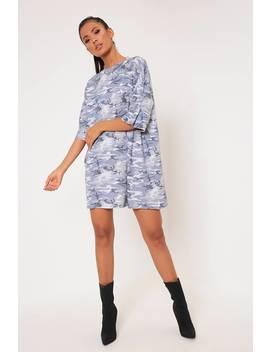 Grey Camo Print Oversized T Shirt Dress by I Saw It First