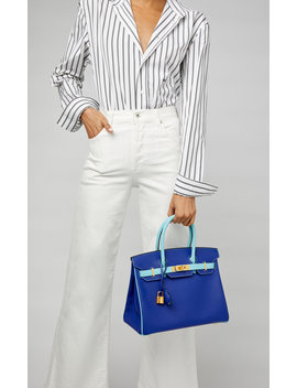 Hermes 30cm Blue Atoll And Blue Electric Epsom Leather Birkin by Hermes Vintage