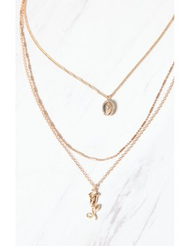 La Hearts Rose Locket Layered Necklace by Pacsun