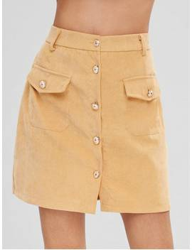 Button Front Corduroy Pockets Skirt   Sun Yellow L by Zaful