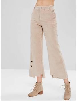 Grommet Corduroy Wide Leg Pants   Light Khaki L by Zaful
