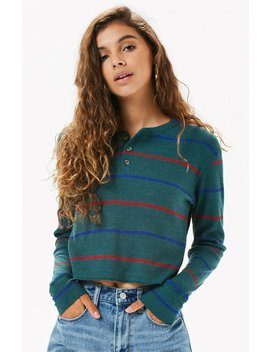 Me To We Striped Jarred Waffle Knit Long Sleeve T Shirt by Pacsun