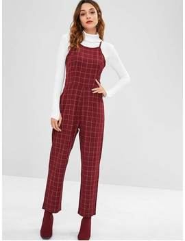 Zaful Checked Straight Jumpsuit   Maroon L by Zaful