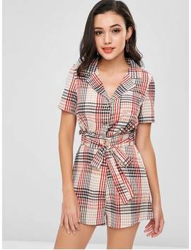 High Waisted Plaid Belted Romper   Multi M by Zaful