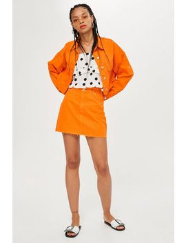 Orange Denim Skirt by Topshop