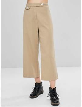 Buttoned Wide Leg Ninth Pants   Tan L by Zaful