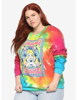 Disney Alice In Wonderland Curiouser & Curiouser Tie Dye Girls Sweatshirt Plus Size by Hot Topic