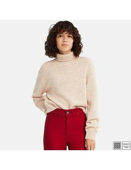 Women U Melange Turtleneck Sweater by Uniqlo