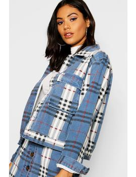 checked-twill-cropped-trucker-jacket by boohoo
