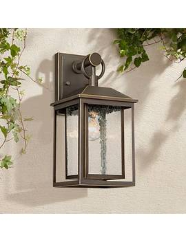 "Califa 15 1/4"" High Bronze Textured Glass Outdoor Wall Light by Lamps Plus"