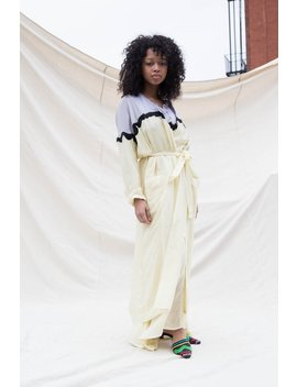 Nikki Chasin Moretti Belted Robe Jacket   Taro/Lemon by Garmentory