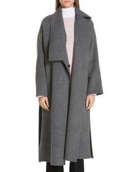 Asymmetrical Wool Blend Blanket Coat by Vince