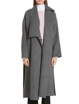 Asymmetrical Wool Blend Blanket Coat by Vince