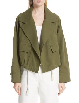 Drawstring Crop Cotton Jacket by Vince