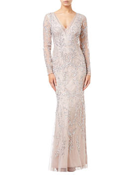 Adrianna Papell Beaded Long Dress, Blush by Adrianna Papell