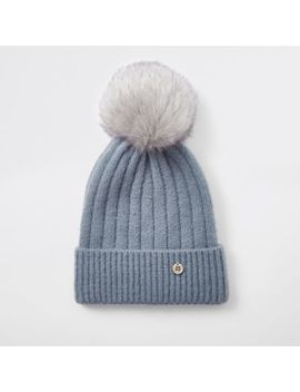 Light Blue Faux Fur Bobble Knit Beanie Hat by River Island