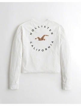 Metallic Print Boyfriend Graphic Tee by Hollister