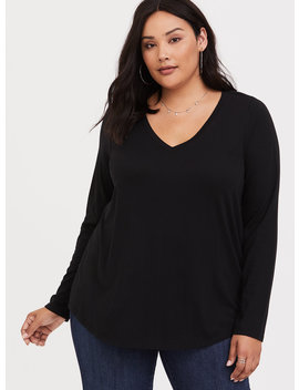 Black Long Sleeve Girlfriend Tee by Torrid