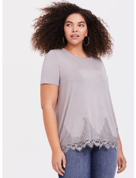 Super Soft Grey Lace Trim Tee by Torrid