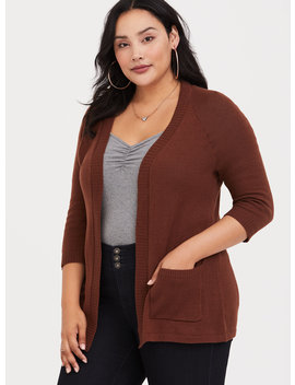 Brown Open Stitched Cardigan by Torrid