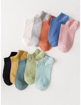 Ribbed Ankle Socks 10pairs by Romwe