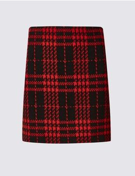 Checked Jersey A Line Mini Skirt by 35 Days To Return
