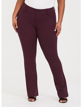 Studio Signature Ponte Stretch Trouser   Burgundy by Torrid