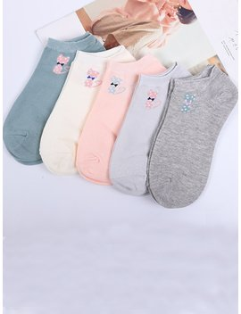 Cat Detail Ankle Socks 5pairs by Romwe