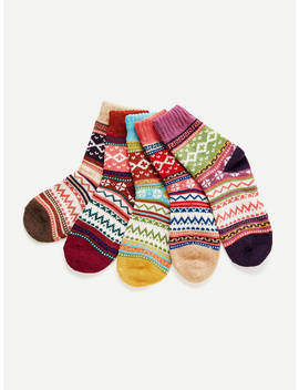 Mixed Pattern Socks 5pairs by Romwe