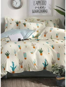 Cactus Print Duvet Cover by Shein