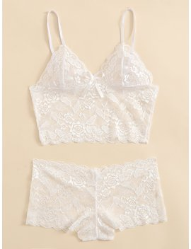 Scalloped Trim Longline Lingerie Set by Romwe