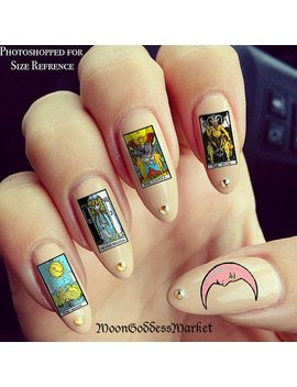 25 Tarot Card Nail Decals Waterslide Type Mystical Magickal Nails by Etsy